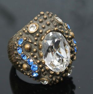 NEW HANDCRAFTED OTTOMAN 3 CARAT CUBIC ZIRCONIA BRONZE HANDMADE SIZE 6.5 RING