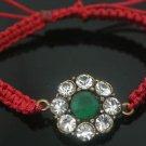 Turkish 1.0 Carat Emerald Ottoman Bronze Fabric Victorian Macrome Bracelet