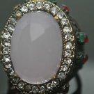 Turkish 6 Ct Pink Quartz Vintage Ottoman Victorian Bronze Size 9.5 Unisex Ring