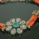 Turkish 0.75 Ct Emerald CZ Ottoman Georgian Bronze Charm Leather Cord Bracelet