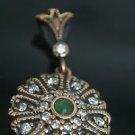 Handmade Ottoman Victorian 0.1 Carat Emerald 925 Silver Swirl Roxelana Pendant