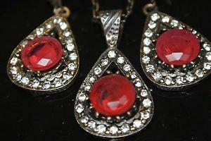 Turkish Ottoman Style Tulip Flower 4 Carat Pear Ruby CZ Jewelery Bronze Set