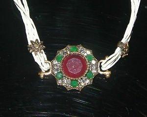 Nwot Turkish 3 Ct Ruby CZ Georgian Bronze Leather Cord Victorian Flower Bracelet