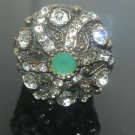 NEW HANDCRAFTED OTTOMAN VICTORIAN EMERALD&CZ STAR HANDMADE BRONZE RING SIZE 8.5