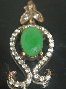 Handmade Ottoman Victorian 2 Carat Emerald 925 Silver Swirl Roxelana Pendant