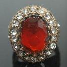 Turkish 4 Carat Ruby Vintage Bronze Ottoman Victorian Size 8 Round Bent Ring