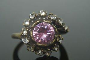 Turkish Vintage 3 Carat Pink Quartz Vintage Ottoman Victorian Bronze Size 9 Ring