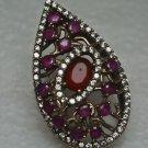 Turkish 1 Carat Ruby 925 Sterling Silver Size 7.75 SULTAN Pear Cut Bohemian Ring