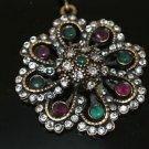 Turkish Emerald Ottoman Victorian Sultan's Style Flower Bronze Handmade Necklace