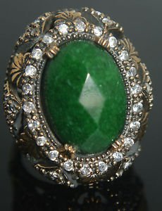 Turkish 6 Carat Emerald Size 8.5 Unisex 925 Sterling Silver Sultan Boho Ring