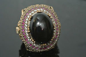 Turkish 5 Carat Onyx Ottoman Size 9 925 Sterling Silver Boho Unisex Ring