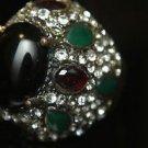 Turkish 4 Carat Onyx Vintage Ottoman Victorian Bronze Size 9.5 Unisex Boho Ring