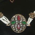 Turkish 0.5 Carat Emerald & Ruby Ottoman Bronze Charm Leather Cord Bracelet