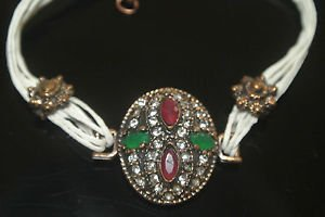 Turkish 0.5 Carat Emerald & Ruby Ottoman Bronze Charm Leather Cord Bracelet