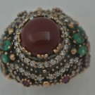 Turkish 5.0 Carat Agate Ottoman Victorian Style 925 Silver Size 11 Round Ring