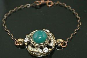 Turkish 4 Carat Emerald CZ Victorian Chain Rustic Looking Hurrem Bronze Bracelet