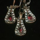 Turkish Ottoman Style Tulip Flower Ruby CZ Necklace&Earing Jewelery Bronze Set