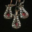 Turkish Ottoman Style Tulip Flower Ruby CZ Necklace&Earing Jewelery Bronze Set