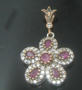 Ottoman Victorian Style 0.2 Carat Ruby 925 Silver Hurrem Flower Pendant