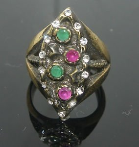 Turkish 0.10 Carat Emerald&Ruby Ottoman Victorian Bronze Size 8 Sultan's Ring