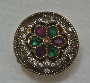 Turkish 0.30 Carat Emerald&Ruby Ottoman Victorian Style 925 Silver Size 7 Ring