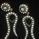 Turkish Vintage Ottoman Silver Plated 1 Carat Sapphire Rhinestone Tulip Earings