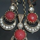 Bronze Handcrafted Turkish Ottoman Victorian Style 2.0 Carat Ruby Moon&Star Set