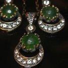 Turkish Victorian Ottoman Style 2.0 Carat Emerald Moon&Star Bronze Jewelry Set