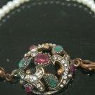 Turkish CZ 0.33 Carat Emerald & Ruby Victorian Style Pearl Cord Bronze Bracelet