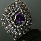 Turkish 1.5 Ct Round Amethyst Vintage 925 Sterling Silver Size 8.5 Coctail Ring