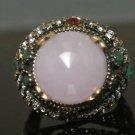 Turkish 6 Carat Pink Quartz Vintage Ottoman Victorian Bronze Size 8.75 Ring