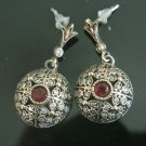 TURKISH OTTOMAN VICTORIAN STYLE 925 SILVER 0.25 CARAT RUBY CZ FLOWER EARRINGS