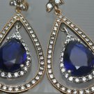TURKISH OTTOMAN VICTORIAN 925 SILVER 4 CARAT SAPPHIRE HURREM DANGLE PEAR EARING