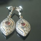 TURKISH OTTOMAN VICTORIAN 925 SILVER 0.25 CARAT RUBY HURREM MARQUISE MIX EARINGS