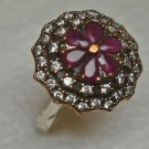 Turkish 0.3 Carat Ruby CZ 925 Ottoman Handmade Sterling Silver Ring Size 8