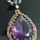 TURKISH VICTORIAN 925 STERLING SILVER 6 CT PEAR AMETHYST DANGLE COCTAIL PENDANT