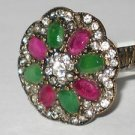 NEW HANDCRAFTED BRONZE SIZE 8.5 THREE STONE 0.5 CARAT EMERALD & RUBY CZ RING