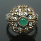Turkish 0.33 Carat Emerald Cluster Victorian 925 Silver Size 8.5 Authentic Ring
