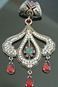 Ottoman Victorian Style 0.5 Carat Emerald 925 Sterling Silver Bohemian Pendant
