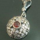 Ottoman Victorian Style 0.25 Carat Ruby 925 Silver Hurrem Flower Round Pendant