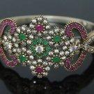 Turkish Ottoman Handmade 0.33 Carat Ruby &Emerald 925 Silver Bangle Bracelet