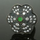 Turkish 0.15 Carat Emerald Oxisided Cocktail 925 Silver Size 6.75 Flower Ring