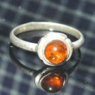 925 Sterling Silver 0.75 Ct Brown Amber Round Shaped Ring Auction Size 8