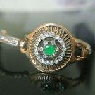 Turkish 0.5 Ct Emerald CZ Victorian Chain Rustic Looking Hurrem Bronze Bracelet