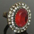 Turkish 4 Carat Ruby Vintage Bronze Ottoman Victorian Size 7.5 Round Bent Ring