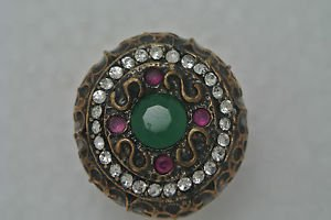 TURKISH HANDCRAFTED OTTOMAN VICTORIAN BRONZE 1.5 CARAT EMERALD&RUBY RING SIZE 8