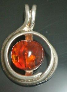 925 Silver 2.5 Carat Amber Round Shaped Pendant