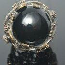 Turkish 6 Carat Onyx Ottoman Victorian 925 Sterling Silver Size 9 Unisex Ring