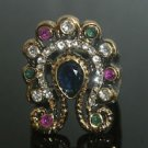 Turkish 0.5 Carat Sapphire Size 8 Victorian Style Butterfly Bronze Boho Ring