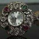 Turkish Ottoman Style 0.33 Ct Emerald & Ruby CZ 925 Silver Flower Wrist Watch